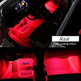 Car Interior Lights, EJ's SUPER CAR 4pcs 36 LED DC 12V Waterproof Atmosphere Neon Lights Strip for Car-Car Auto Floor Lights,Glow Neon Light Strips for All Vehicles (Red) …