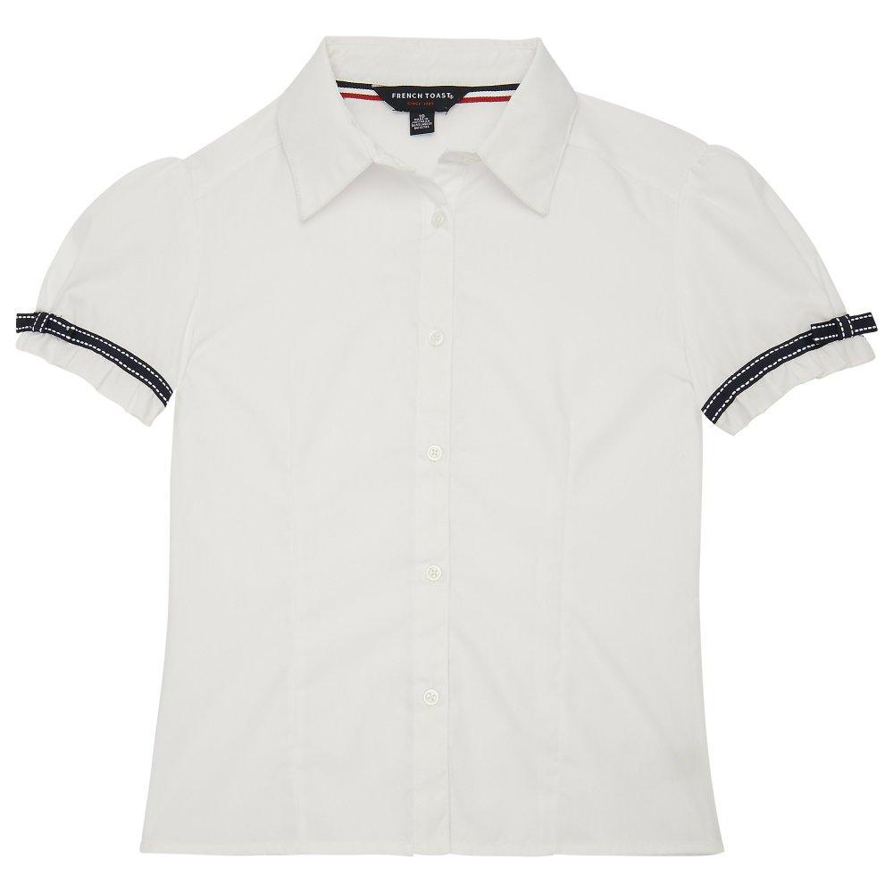 French Toast Little Girls' Short Sleeve Ribbon Bow Blouse, White, 6X SE9279