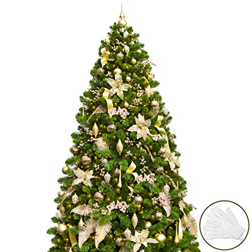 KI Store 7FT Artificial Christmas Tree with Ornaments and Lights Pure Champagne Christmas Decorations Including 7 Feet Full Tree, 146pcs Ornaments, 2 pcs 59ft USB Mini LED String Lights