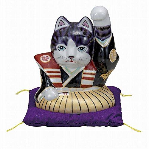 Jpanese traditional ceramic Kutani ware. Lucky charm ornament. Beckoning cat. Fukusuke Montsukihakama. With paper box. ktn-K5-1585