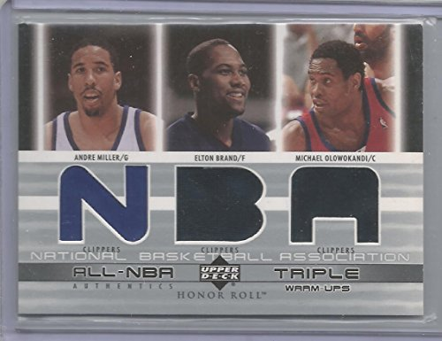 2003-04 Honor Roll Basketball Andre Miller-Elton Brand-Michael Olowokandi Triple Jersey Card Clippers