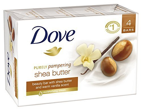 Dove Purely Pampering Beauty Bar, Shea Butter with Warm Vanilla 4 oz, 4 Bar by
