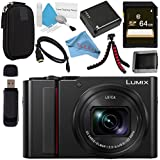 Panasonic Lumix DC-ZS200 DC-ZS200S Digital Camera (Silver) + DMW-BLG10 Lithium Ion Battery + 64GB SDXC Card + Small Carrying Case + Deluxe Cleaning Kit + Flexible Tripod + Micro HDMI Cable Bundle