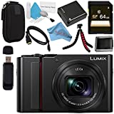 Panasonic Lumix DC-ZS200 DC-ZS200K Digital Camera (Black) + DMW-BLG10 Lithium Ion Battery + 64GB SDXC Card + Small Carrying Case + Deluxe Cleaning Kit + Flexible Tripod + Micro HDMI Cable Bundle Review