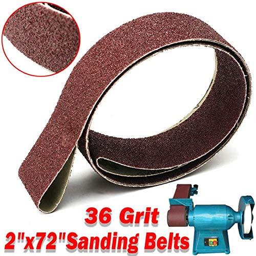 sourcingmap 2-Inch x 72-Inch 80 Grit Lapped Joint Aluminum Oxide Sanding Belt 4pcs