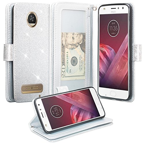 Moto Clutch (Motorola Moto Z2 Play Case, Moto Z2 Play Droid Wallet Case, Glitter Faux Leather Flip Credit Card Holder Wrist Strap Protective Purse Wallet Case Clutch for Verizon Moto Z2 Play - (Silver))