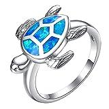 things under 1 - Yoursfs Blue Fire Opal Women Men Fashion Jewelry Gemstone Tortoise Ring
