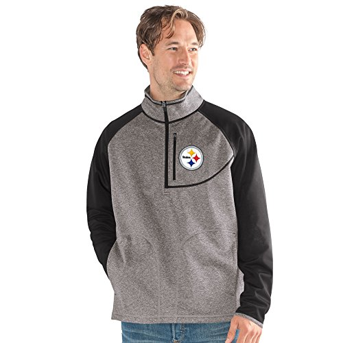 G-III Sports NFL Pittsburgh Steelers Mountain Trail Half Zip Pullover, X-Large, Gray