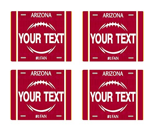 - BRGiftShop Personalize Your Own Football Team Arizona Set of 4 Square Beverage Coasters