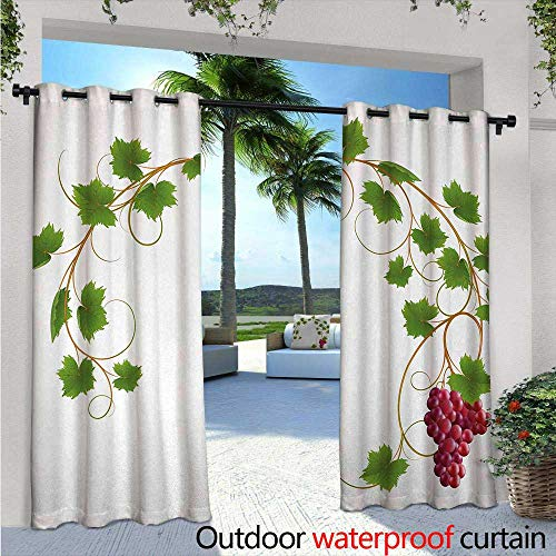 ee Standing Outdoor Privacy Curtain Curved Ivy Branch Deciduous Woody Wines Seeds Clusters Cabernet Theme Print for Front Porch Covered Patio Gazebo Dock Beach Home W108 x L96 G ()