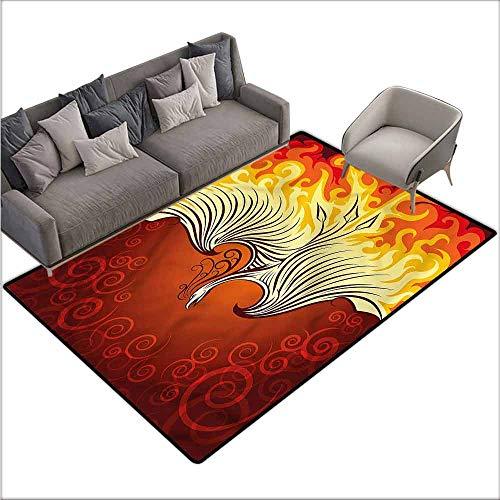 (Floor Mat for Toilet Non Slip Orange,Phoenix Bird in Flame 48