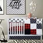 Crib-Bedding-Sets-for-Boys-4-Piece-Woodland-Set-for-Baby-boy-Rustic-Nursery-Decor-Quilt-Blanket-Crib-Sheet-Skirt-and-Rail-Cover-Deer-Antler-Arrow-Buffalo-Plaid-Woodland-Deer