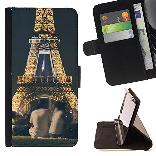 God Garden - FOR Apple Iphone 5 / 5S - People Eiffel Tower France Andmark - Glitter Teal Purple Sparkling Watercolor Personalized Design Custom Style PU Leather Case Wallet Fli