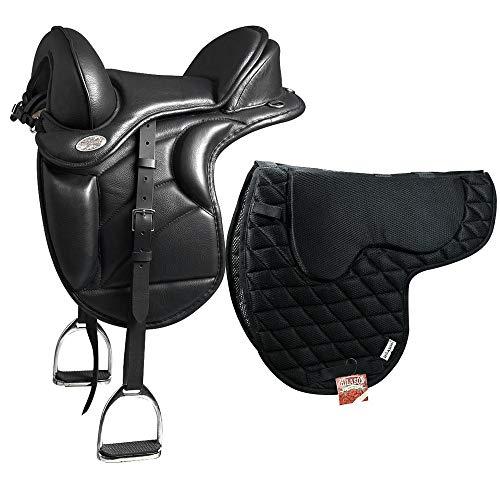 HILASON English Treeless Endurance Trail Horse Saddle 18 W/Saddle Pad