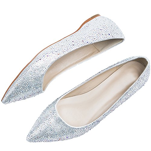 HooH Red Pumps Bling F Wedding Ballets High Pointed Crystal Shoes Sole Toe Women's Silver And Heel xraYnxwHqR