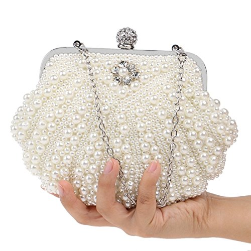 evening Creamy Bag Package Fly Clutch Women's Creamy bag white Evening Color Pearl Dinner white Fashion Beaded Party vRxqTwUpxg