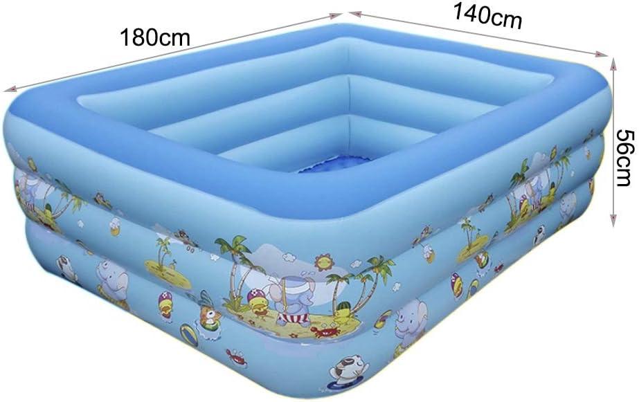 Ljf Piscina Inflable Familiar, portátil, fácil de Plegar, Piscina para niños Adultos, Piscina para niños, 180x140x56cm, Azul: Amazon.es: Deportes y aire libre