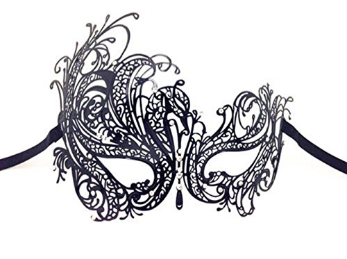 [Women's Black Swan Metal Filigree Laser Cut Venetian Masquerade Mask delicately and artfully crafted with Rhinestones (Black Swan mask with Clear] (Black Swan Costumes For Halloween)