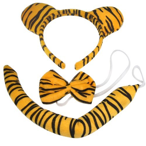 Costume Easy Tiger (Animal Print Set Tiger Ears Tail Bow Tie Bowtie Fancy Dress Outfit Coat by)