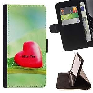 For Sony Xperia Z1 L39 - Love I Love You /Funda de piel cubierta de la carpeta Foilo con cierre magn???¡¯????tico/ - Super Marley Shop -
