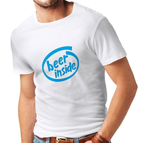 Camisetas Hombre Beer Inside - Logotipo Divertido de la Cerveza, Regalo Fresco (Medium Blanco Azul)