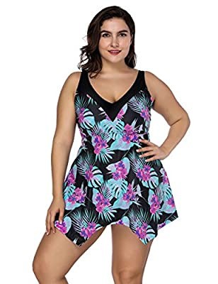 FeelinGirl Women's Plus Size Floral Halter Swimsuit Two Piece Pin up Tankini Swimwear