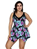 e cup swimwear - FeelinGirl Women's Built-In Cup Plus Size Swimsuit Two Piece Bathing Suits,XXL(18-20),Purple