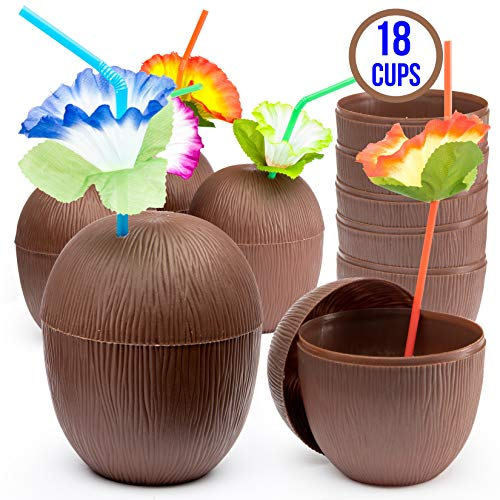 Prextex 18 Pack Coconut Cups for Hawaiian Luau Kids Party with Hibiscus Flower Straws - Tiki and Beach Theme Party Fun Drink or Decoration Cups ()