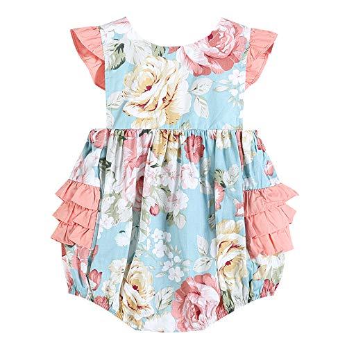 - 32516012093 Girls Romper in Pink Floral Print