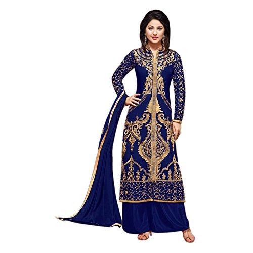 Li Te Ra Blue Georgette Embroidered Straight Salwar suit