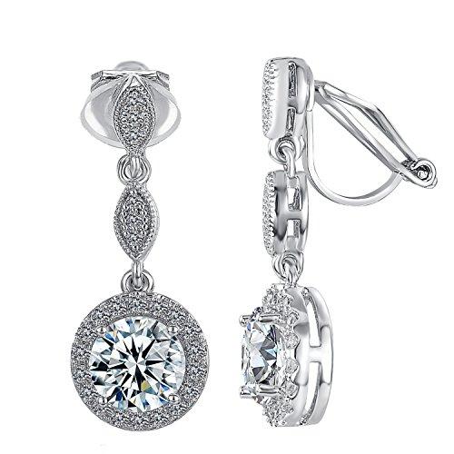 Yoursfs Clip On Earrings For Women Zircon Austrian Crystal Wedding 8-Shape Dangle Earrings ()