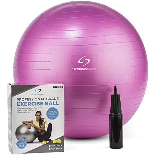 Exercise Ball - Yoga Swiss Ball with Hand Pump - Gym Quality Fitness Ball for Women and Men - Lifetime Guarantee (Pink 65 cm)
