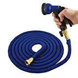 New and Improved Expandable Garden Hose by Green Mill. 50 Feet. The Strongest Poly Shell with Solid Brass Connectors and Thick Rubber Washers. Comes with 7 Function Sprayer. Blue Hose and Nozzle. offers