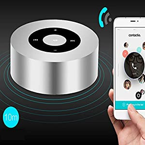 Aolyty Speaker Potable Wireless Bluetooth Speaker Touch Screen Strong Bass Stereo Sound with Microphone TF Card Slot Audio Line-in Music Player for iPhone iPad PC Android Silver