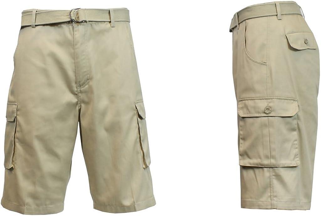 White Size 34 Harvic Galaxy Mens Flat-Front Cargo Shorts w//Belt