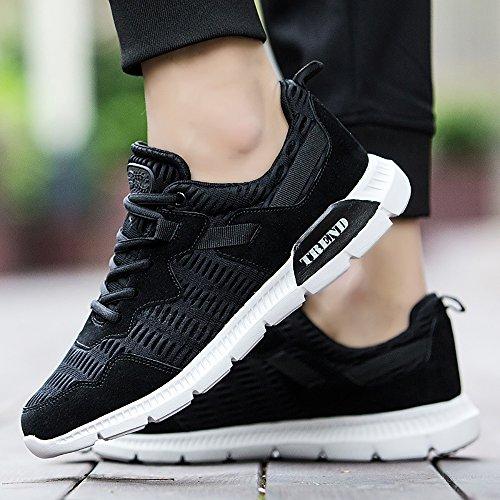 Easondea Chaussures De Course Pour Hommes Léger Respirant Maille Gym Walking Cross-Training Chaussures De Sport Noir ZAuKSV7nN