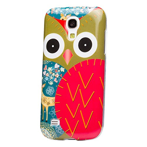 Samsung Galaxy S4 MINI   iCues Full Printing TPU Case Owl   [Screen Protector Included] IMD Pattern Print Cover Women Girl Floral Shell TPU Rubber Silicone - Samsung S4 Mini Case Female