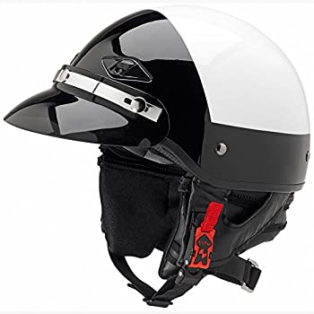 Official Police Motorcycle Helmet w/Smoked Snap-On Visor (Black/White, Size Medium)