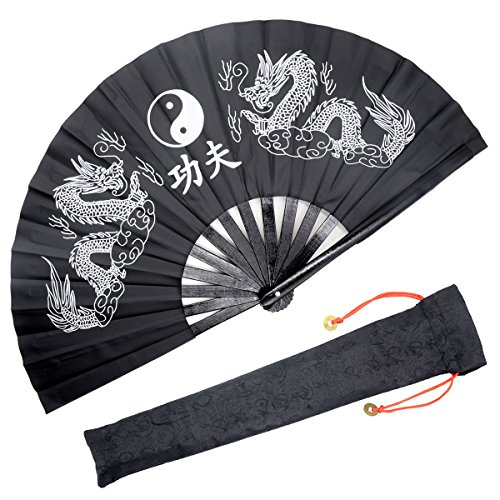OMyTea Performance Large Hand Folding Fan - Chinese/Japanese Kung Fu Tai Chi Handheld Fan for Men/Women - for Decorations/Dancing / Fighting/Gift (Black Double Dragons)
