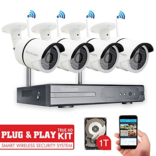 Yeskam Wireless Security Camera System 4 Channel Video