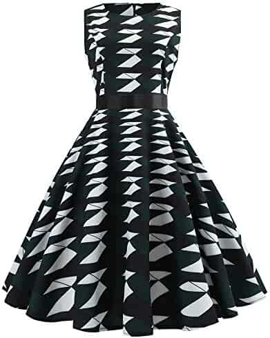 22f6d12df8 DEATU Womens Sleeveless Dresses, Clearance Ladies Teen Girls Vintage  Evening Mutiple Choice Print Party Prom