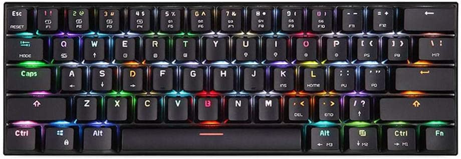 Motospeed CK62 Teclado mecánico mecánico de 61 teclas con cable + interruptor azul Bluetooth, teclado ergonómico silencioso y satisfactorio