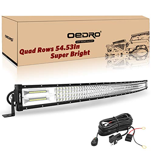LED Light Bar Curved with Wiring Harness Quad-Row 52In 1525W oEdRo Spot Flood Combo Led Lights Work Lights Fog Driving Light Off Road Light 12/24V Fit for Pickup Jeep SUV 4WD 4X4 ATV UTE TruckTractor (Best 52 Inch Curved Light Bar)