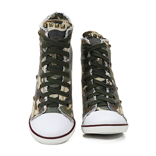 up fereshte Camo Lace Canvas Ankle Heel Sneakers High Chunky Women's Bootie Rivet A tAqp1Ar