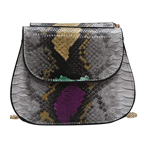(Anlydia Women Snakeskin Pattern Shoulder Bag PU Leather Magnet Tote Bag)