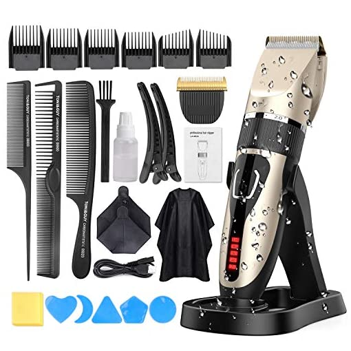 Hair Clippers for Men, DUSASA Professional Cordless Hair Trimmer IPX7 Waterproof USB Rechargeable LED Display Beard Trimmer Multiple 21 Sets Hair Cutting Kit With Charging Dock-2000mAh Lithium Ion - 51nZOfyj cL - Hair Clippers for Men, DUSASA Professional Cordless Hair Trimmer IPX7 Waterproof USB Rechargeable LED Display Beard Trimmer Multiple 21 Sets Hair Cutting Kit With Charging Dock-2000mAh Lithium Ion