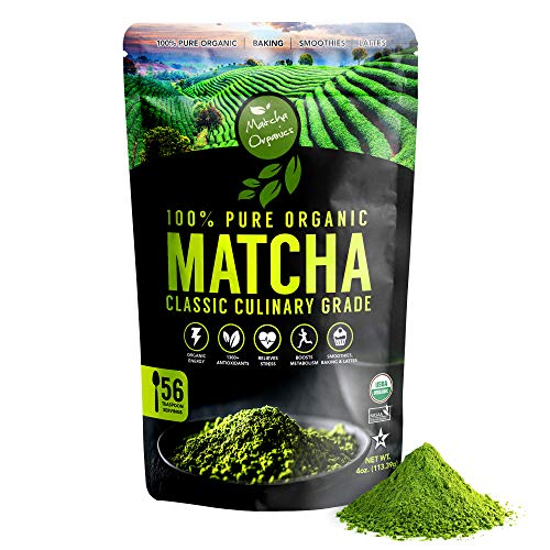 Matcha Organics Classic Matcha Green Tea Powder Extract - 100% Pure USDA Organic Culinary Grade - Bulk Starter Bag 4oz / 113g - Latte Mix, Smoothies, Baking Foods - FREE Top 100 Matcha Recipes Ebook