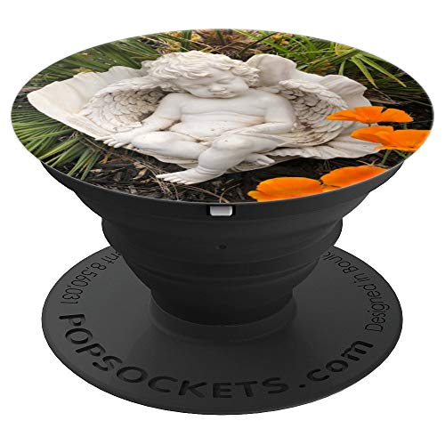 Sleeping Angel Cherub with Orange Poppies - PopSockets Grip and Stand for Phones and Tablets