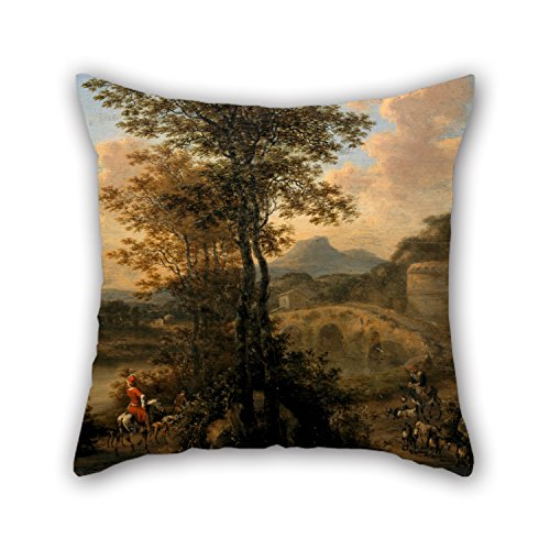 [Slimmingpiggy 16 X 16 Inches / 40 By 40 Cm Oil Painting Willem De Heusch - Italian River Landscape With Stone Bridge Pillow Covers ,each Side Ornament And Gift To Couples,living] (Good Couple Halloween Costumes)