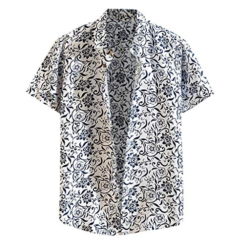 Men's Slim-Fit Short-Sleeve Printed Poplin Shirt Casual Button-Down Beach Hawaiian Shirt - Big & Tall White ()
